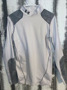 Under Armour Cold Gear Mens Fitted Shirt Mock Turtle Neck Small White Gray $10.00