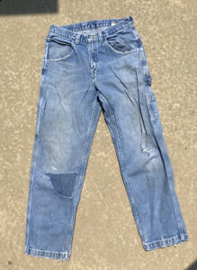 vintage carpenter denim jeans with distressing and patch work 30x32 $20.00