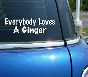 EVERYBODY LOVES A GINGER DECAL STICKER REDHEAD HAIR COLOR SEXY FUNNY CAR TRUCK