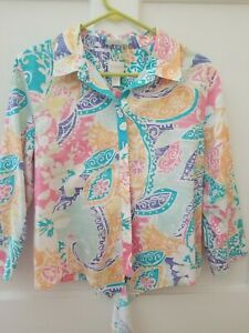 Chicos Shirt Top Size 1 M Button Down 3 4 Sleeve Cotton Ties Print $18.99