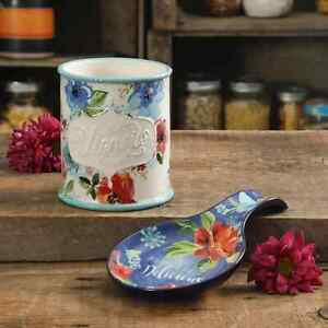 The Pioneer Woman Floral 2 Piece Mini Stoneware Utensil Crock and Spoon Rest Set