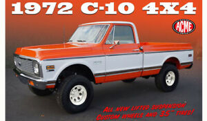 1:18 ACME 1972 Chevrolet C10 4x4 Lifted with 35quot; Tires Orange White Pre Order
