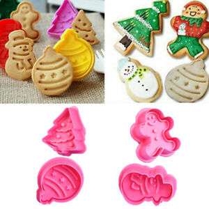 4pcs Christmas Cookie Biscuit Plunger Cutter Mould Fondant Cake Mold Baking Tool C $3.09