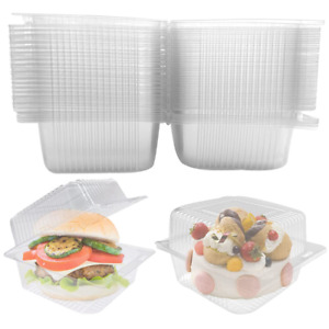 100 Pcs Clear Plastic Square Hinged Food ContainerDisposable Clamshell Dessert $19.64