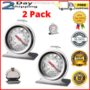 2pack Stainless Steel Refrigerator Freezer Thermometer Large Dial Thermometer