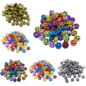 20Pcs 10mm Smiling Face Loose Beads DIY For Jewelry Making Necklace Bracelet C $1.59