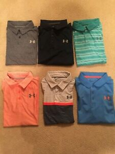 6 Under Armour Polos Youth Large Light and Dark Blue Green Orange $90.00