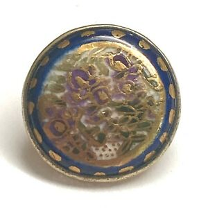 Antique Button Lovely Floral Japanese Satsuma w Cobalt Border in Signed Silver