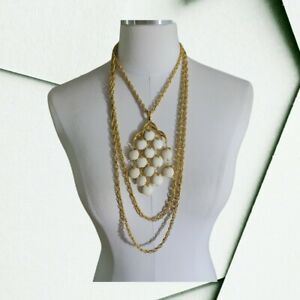 Crown Trifari Waterfall Necklace White Lucite Bead Triple Strand Gold Tone 1960s $99.99