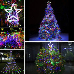 Solar Star Hanging Christmas Tree Topper Lights 317LED Outdoor Decor For Holiday $46.25