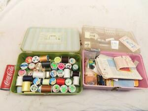 2 Antique Vintage Wilson Sewing Boxes Spools Thread Needles Buttons Thimble $10.00
