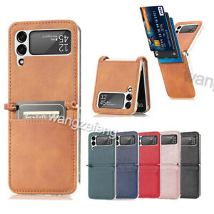 For Samsung Galaxy Z Flip 3 5G PU Leather Card Holder Slots Folding Case Cover $8.79