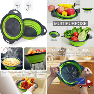 2 Collapsible Silicone Colander Folding Set for Pasta Vegetables Meats Fruits