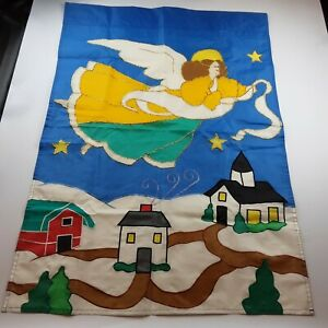 ANGEL Christmas Snow Large Yard Garden Flag 28quot; x 40quot; Houses Church $5.99