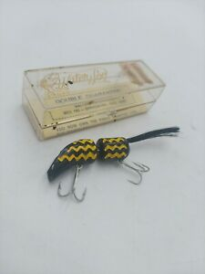 Water Loo Vintage Fishing Lure in Case Black Yellow Stripes tough collectible