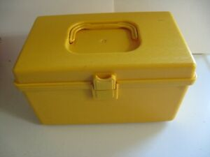 Vintage Small Yellow Sewing Box With Removable Tray Wilson Wil Hold USA Plastic $18.49