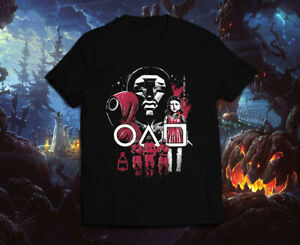 Squid Game Style Creepy Nightmare Halloween Scary Horror Red Light Men#x27;s T Shirt