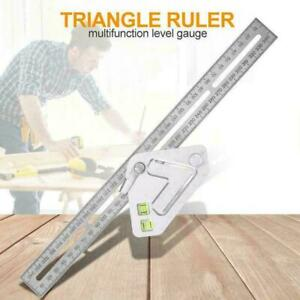 Multifunctional Triangle Angle Ruler Level Protractor Woodworking Carpentry Tool $8.00