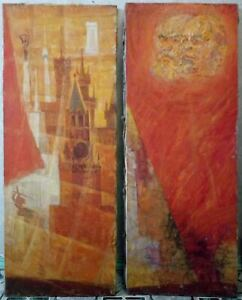 Two large paintings agitation of the USSR oil on canvas $230.00