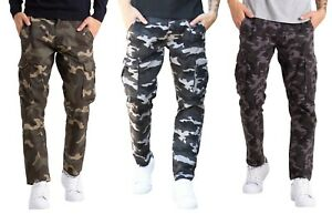 Mens Classic Army Cargo Combat Trousers 6 pocket Workwear Camo full Pants