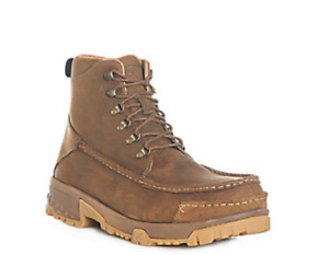 Twisted X Men#x27;s Distressed Brown with CellStretch Moc Composite Toe Lace Up Work