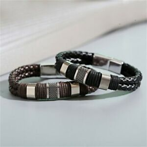 Fashion Braided Leather Silver Stainless Steel Cuban Chain Couple Bracelet Mens $5.95