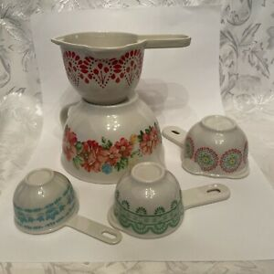 THE PIONEER WOMAN 5 Piece Cooking Baking Measuring Cup Set Floral Design