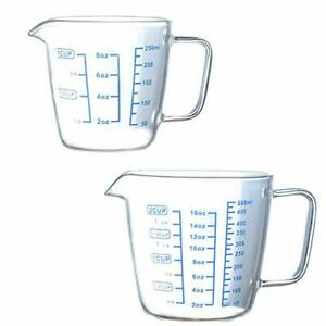 2 Sizes Glass Measuring Cups Multi Function Measuring Cup Set Heat resistant Cle