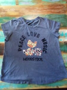 Lucky Brand Size 1X Blue Embroidered Woodstock Tee Top Short Sleeve 100% Cotton