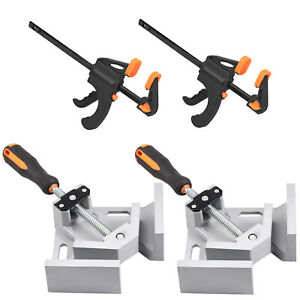 2X 90° Right Angle Clamps Corner Clamp 2X 4quot; Wood F Clamps Bar Woodworking Tool $45.50