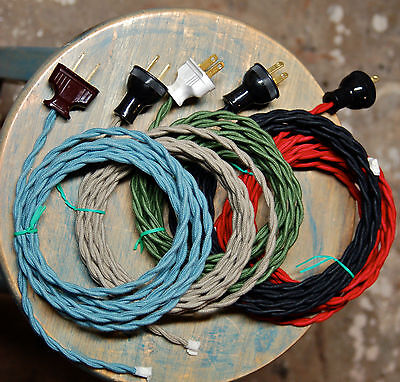 8 Twisted Cloth Covered Wire - Plug Vintage Light Rewire Kit Lamp Cord rayon