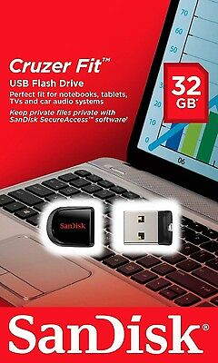 New Sandisk Cruzer Fit 32GB USB Flash Pen Drive SDCZ33 CZ33 Mini Memory Disk 32G