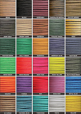 550 Paracord Mil Spec Type III 7 strand parachute cord 102550100 ft