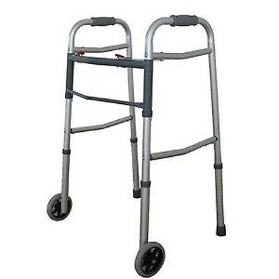 Dual 2 Button Folding Walker with 5 Wheels Heavy Duty Professional UP TO 350lbs