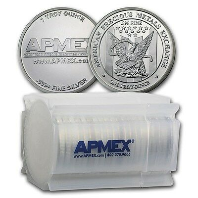 1 oz APMEX Silver Rounds -999 Fine Lot Roll Tube of 20 - SKU 74753