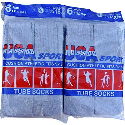 612 Pairs  GrayBlack Mens Cotton Athletic Sport TUBE Socks 9-15 Made in USA