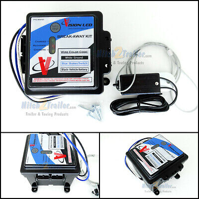 ENGAGER LED Trailer Electric Break Away Brake Kit 12V Battery Charger Breakaway