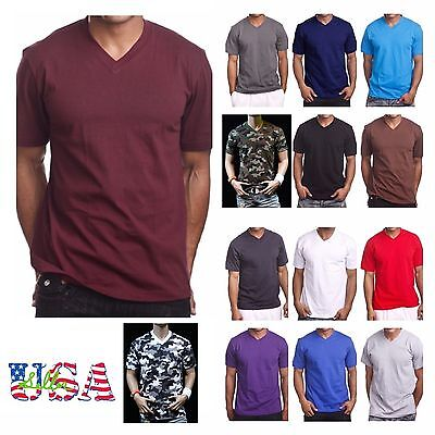 Mens HEAVY WEIGHT V-Neck T-Shirt Lot Blank Plain Tee BIG - Comfy Camo S-5X