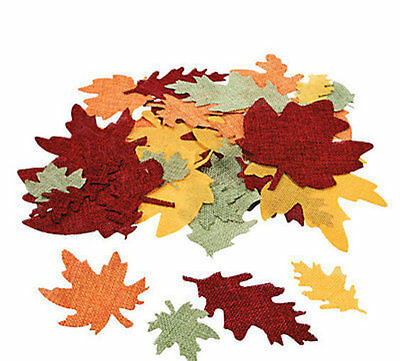50 Burlap Leaf Shapes 2-5 Thanksgiving Halloween Fall LEAVES Foliage CRAFTS