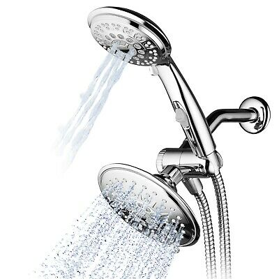 Hydroluxe Multi Setting Chrome Rainfall Shower Head - Handheld Combo Chrome