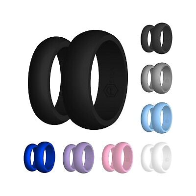 Silicone Wedding Band Engagement Ring FlexFit Hypoallergenic Mens Womens Jewelry