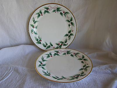 2 Mikasa Ribbon Holly CAF03 Japan Red Berries Gold Trim Bread Plate Dish RARE