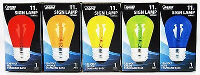 Feit Electric Assorted Colors Light Bulbs 11W 130V Sign LampStandard Base NEW
