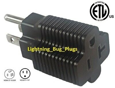 NEW Male 15 Amp to 20 Amp Female Plug T-Blade Adapter 3 Prong Outlet ETL Listed