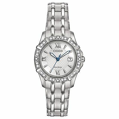 Citizen Eco-Drive Womens EW2360-51A Diamond Silver Tone Bracelet 26mm Watch