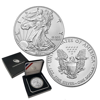 2021 American Silver Eagle Coin BU  in U.S Mint Box