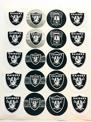 SET of 40- 2 OAKLAND RAIDERS Adhesive Stickers- Make Cupcake Toppers