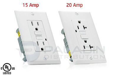15A  20A AMP GFCI GFI Safety Outlet Receptacle w Wall Plate - White UL Listed