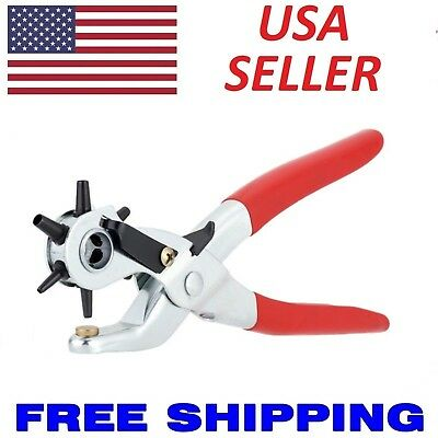 6 Sized 9 Heavy Duty Leather Hole Punch Hand Pliers Belt Holes Punches
