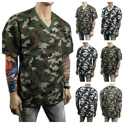 Men T-Shirt Crew Neck - V-Neck Military Army Camo Hunting Sports Outdoor S-5X